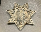 LVMPD - Las Vegas Metropolitan Police Personalized Police Badge 3D V Carved Wood Sign