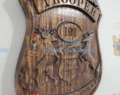 NEW Improved Design!!! - 3D V CARVED - Personalized Michigan State Trooper Police Badge V Carved Wood Sign