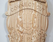 3D V CARVED - Personalized Connecticut State Police Trooper Badge V Carved Wood Sign