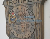 Custom Ohio Highway Patrol Trooper #Police Badge  - Personalized Badge 3D V Carved Wood Sign