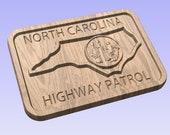 North Carolina Highway Patrol Patch - 3D V Carved Wood Sign