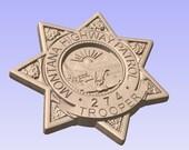 Montana Highway Patrol Trooper Badge - Personalized Police Badge V Carved Wood Sign