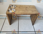 Unique Handmade Standing Cat Dish Made From Reclaimed Wood with two 6 oz dishes