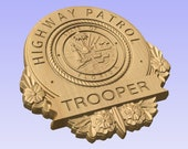 3D V CARVED - Personalized Florida Highway Patrol  Police Badge V Carved Wood Sign
