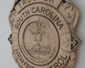 3D V CARVED - Personalized South Carolina State Trooper Police Badge V Carved Wood Sign