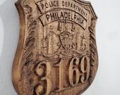 3D V CARVED - Personalized Philadelphia Pennsylvania Police Badge V Carved Wood Sign