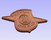 Michigan State Police Logo -  V Carved Wood Sign
