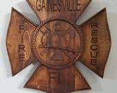 Fire Dept Maltese Cross Badge - 3D V CARVED - Personalized Firefighter/Dept Badge V Carved Wood Sign