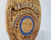 Personalized Kansas Highway Patrol Trooper Badge 3D V Carved Wood Sign