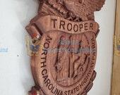 NEW DESIGN - 3D V CARVED - Personalized North Carolina State Trooper Highway Patrol Badge V Carved Wood Sign
