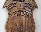 Virginia State Trooper Badge - 3D V CARVED - Personalized Police Badge V Carved Wood Sign