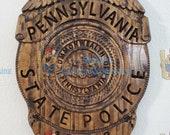 NEW Design !!!  3D V CARVED - Personalized Pennsylvania State Trooper Police Badge V Carved Wood Sign
