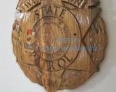 Washington State Patrol Police Officer Badge - 3D V CARVED - Personalized Police Badge V Carved Wood Sign