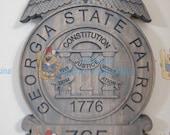 3D V CARVED - Personalized Georgia State Patrol Trooper Police Badge V Carved Wood Sign