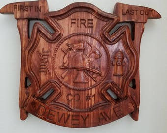 Personalized Fire Dept fighter V Carved Wooden Sign