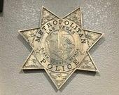LVMPD - Las Vegas Metropolitan Police Personalized Police Badge 3D V Carved Wood Sign