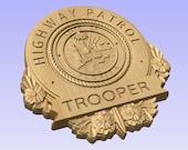 3D V CARVED - Personalized Florida Highway Patrol  Police Badge V Carved Wood Sign