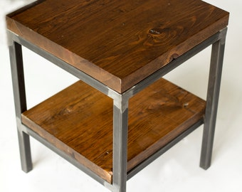 Reclaimed Wood Side Table / End Table: Bare Design