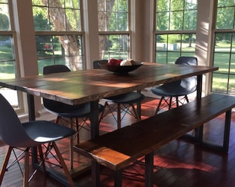 refurbished dining table wooden the lentini dining table ships to lower 48 states handmade kitchen made from solid reclaimed wood and steel wood dining table etsy