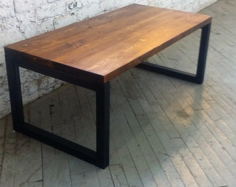 Reclaimed Wood and Steel Coffee Table - Lentini Design - Sturdy solid wood table with steel trestle legs