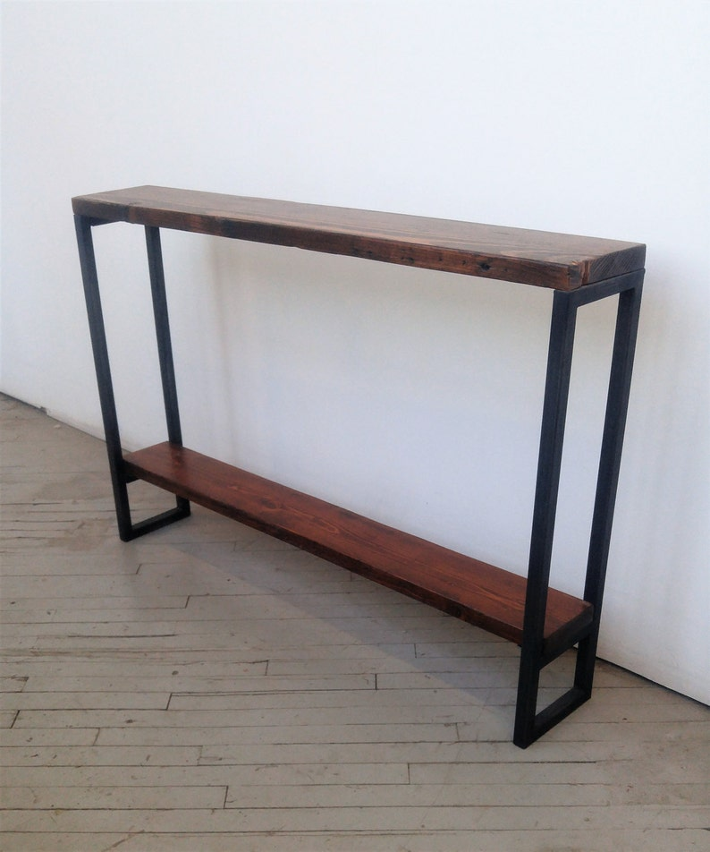 Reclaimed Wood Console Table  Lentini Design  Slim Handmade image 0