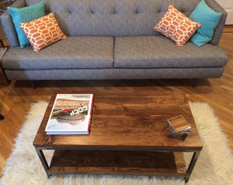 Handmade Solid Wood Coffee Table: Bare Design - Contemporary coffee table made from solid lumber and steel
