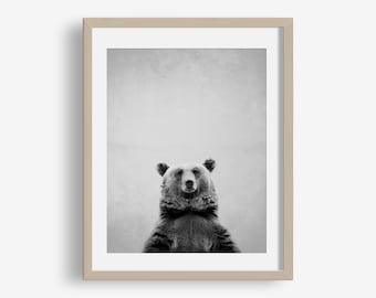 Bear Print - animal printable, woodland animals, modern, minimalist print, grizzly bear, photo, nursery art printable, printable bear