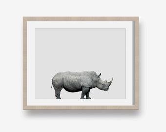 White Rhino Print - animal printable, safari, modern, minimalist print, printable nursery, jungle, photo, nursery art printable, wildlife