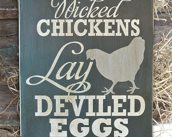 Naughty Chickens Lay Deviled Eggs They Can Be Peckers Sign Etsy