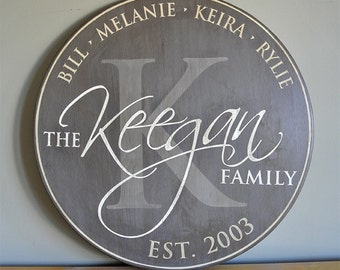 """Personalized Established Family Name Sign -- Monogram Round Sign - 24"""" - Wedding Anniversary Gift - Est. Date - Custom Gift - Wood Sign"""