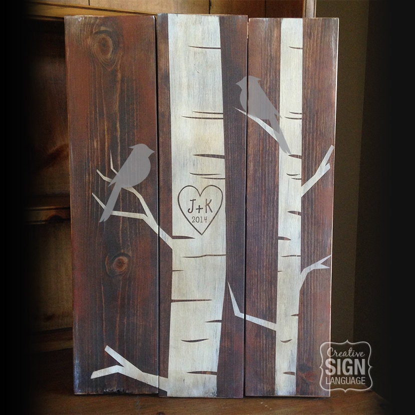 Initials Heart Carved In Tree Bird In Tree Wood Sign Birch Etsy