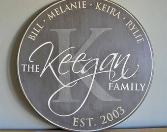 """Personalized Established Family Name Sign -- Monogram Round Sign - 30"""" - Wedding Anniversary Gift - Est. Date - Custom Gift - Wood Sign"""