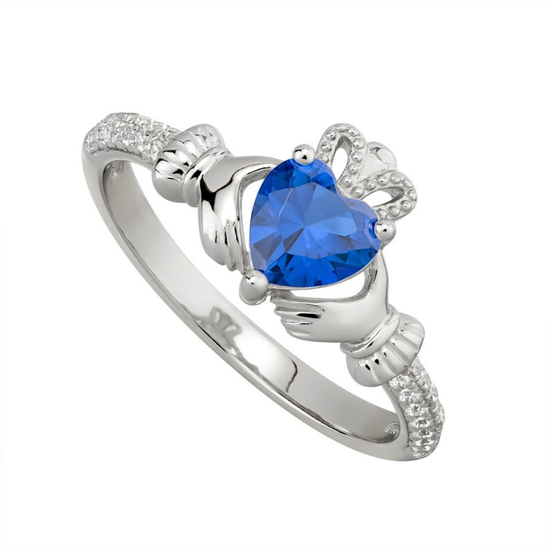 af26edeef593e SEPTEMBER Birthstone Silver Claddagh Ring S-S21062-9. Made in IRELAND! -  Ships from Colorado USA