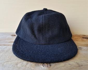 CLUB MONACO Vintage 90s Strapback Dad Hat Black Wool Leather Strap One Size  Cap Casual Unstructured Minimal Ballcap 9e300e2e690f