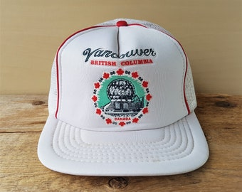 02f53c317f157 Vancouver BC EXPO 86 Center Original Vintage 1986 White Mesh Trucker  Snapback Hat Souvenir World Exposition Baseball Cap Retro Ballcap
