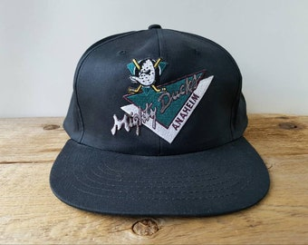 best sneakers 5bc3a d0e90 MIGHY DUCKS Of Anaheim Original Vintage 90s NHL Snapback Hat Black Solid  Disney Logo Adjustable Hockey Team Triangles Run by Krystal Cap