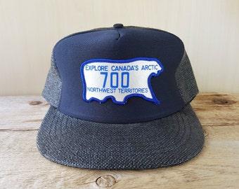 54839a5d21f Explore Canada s Arctic NORTHWEST TERRITORIES Vintage 80s Nylon Straw Trucker  Snapback Hat License Plate 700 Souvenir Cap Polar Bear Ballcap