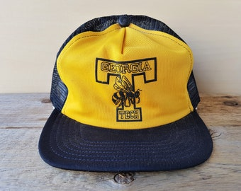 c15245876c7 Vintage 80s Georgia Tech BUZZ Yellow Jackets Trucker Hat Original NCAA Mesh  Snapback Baseball Cap Rare Ballcap