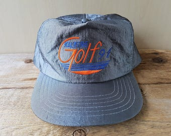 8dec1914863 Vintage KAL TIRE GOLF  91 Shiny Silver Nylon Snapback Hat Golfing Tournament  Promo Baseball Cap Headline Headwear Embroidered Ballcap