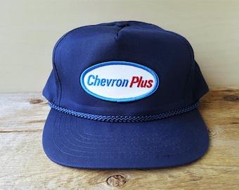 CHEVRON PLUS Gasoline Vintage 90s Navy Blue Trucker Snapback Hat Oil Gas  Station Promo Rope Lined Baseball Cap Patch Ballcap 16f2a08e5fc7