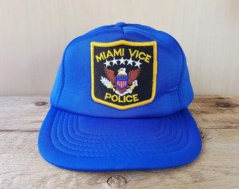 MIAMI VICE Police Original Vintage 80s Blue Foam Trucker Snapback Hat  Florida Beach Patrol Adjustable Cap International Insignia Ballcap 7958944ea2cd