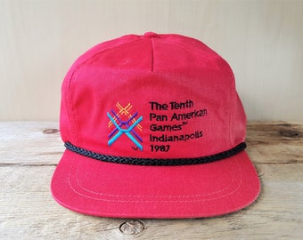 The Tenth PAN AMERICAN Games Indianapolis 1987 Leather Strapback Hat  Vintage 80s Rope Lined Flat Bill Cap Ultimate Image Indiana USA Ballcap 8ddbbdb417a