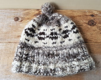 e91ee409f86 Cowichan Raw Wool Toque Pom Hat Vintage Authentic Hand Made Canadian First  Nations Native Pacific Northwest Beanie British Columbia Canada