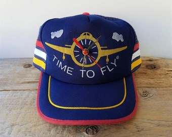 7ce464b0647be Vintage 80s TIME To FLY Working Clock Trucker Hat Mesh 3 Stripe Snapback  Side Striped Aviator Baseball Cap Sport Time USA Battery Powered