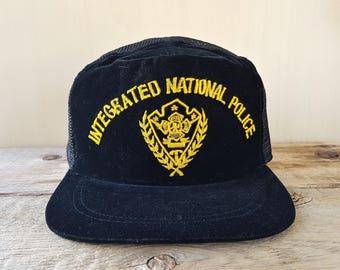 Intergrated National Police Force Rare Defunct INP Filipino Officer Cap  Original Vintage 70s Philippines Black Velvet   Mesh Snapback Hat 0d5faab4f60