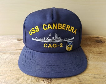 7b826fb60aa Quick view. Vintage USS Canberra CAG-2 U.S. Navy Guided Missile Cruiser Snapback  Hat ...