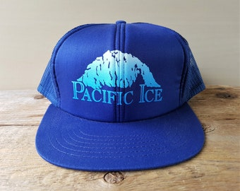 PACIFIC ICE Vintage 80s 90s Blue Mesh Trucker Snapback Hat Defunct Bagged  Ice Distributors Retro Cap Nelsons Western Linen Supply Ballcap c669a480655f