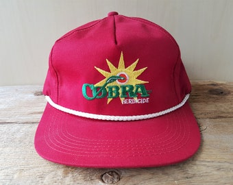 140255f0f60 Vintage 90s COBRA HERBICIDE Red Snapback Hat Original Rope Lined Baseball  Cap K-Products USA Farming Agriculture Promo Embroidered Ballcap