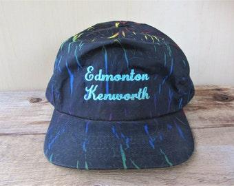 4f22f366b1ba6 EDMONTON KENWORTH Vintage Dark Tropical Jungle Crinkle Tie Dye Neon Print  Snapback Hat Trucking Trucks Promo Script Cap Truck Ballcap
