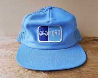 8fda8d85c10 FORD Vintage 80s Light Blue Mesh Trucker Hat Made in USA by Winner Snapback  Farmer Style Baseball Cap Truck Automobile Advertising Ballcap